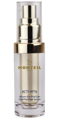 Die ACTI-VITA Gold ProCGen Produkte von MONTEIL verwöhnen die Haut mit 24 Karat Gold und sind das i-Tüpfelchen für einen natürlich-frischen Sommerlook. Das Gold ProCGen Serum, die Gold ProCGen Softening Lotion und die Gold ProCGen Creme Day/Night schützen und pflegen die Haut mit dem einzigartigen ProCGen Komplex. Die enthaltenen Goldpartikel vitalisieren den Teint und lassen ihn – dank der besonderen Reflexion – verführerisch strahlen.