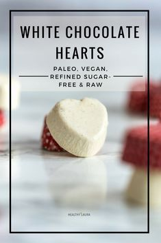Paleo white chocolate hearts with cocoa butter & cashews. & creamy dairy-free, refined sugar-free & vegan homemade gift for Valentine's day. Chocolate Hearts, Raw Chocolate, Homemade Chocolate, Chocolate Recipes, Vegan Raw, Paleo Vegan, Vegan Recipes, Vegetarian, Sugar Free Vegan