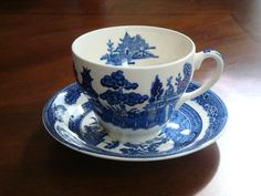 Johnson Bros. England Blue Willow Cup and Saucer! by BucketListGarnishes on Etsy