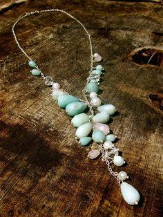 Amazonite Necklace Crystal Necklace Mint Necklace by LaMerLove
