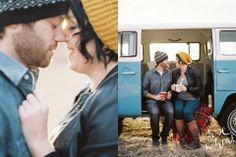 Medium Format Film Photography. Mamiya Pro-TL 645. Fairbanks, AK Photographer. Kodak Portra 400. VW Bus. Travel themed engagement photography inspiration.