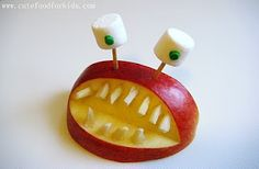 """Say """"hi"""" to the apple monster - You need: apple, slivered almonds, toothpicks, mini marshmallows and some green cookie icing.    You can get 4 monsters out of one apple!"""