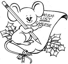 Christmas Mouse Wish List Drawing ArtChristmas Coloring PagesDigital