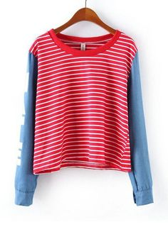 Red Patchwork Long Sleeve Loose Cotton Blend T-Shirt