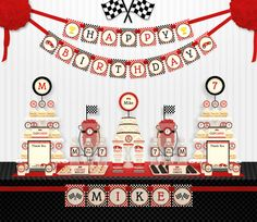 Red Racing Car Birthday Party Package Personalized by leelaaloo