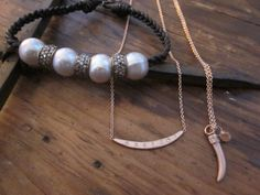 want the necklace in middle - Rebecca Lankford Designs N3477L-R7 14K Rose gold chain & textured curved bar necklace 7 diamond set