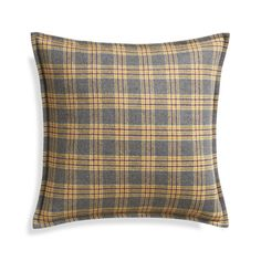 "Mustard Plaid 20"" Pillow with Feather Insert  