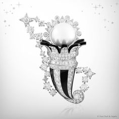 Zodiac Set Cancer clip, Palais de la chance collection, Van Cleef & Arpels: white gold, diamonds, onyx and one white cultured pearl with a diameter of 16.40 mm.