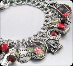 Teacher Charm Bracelet, Teacher Jewelry, Gift for Teacher, Apple Charms, Teacher Gift, Teacher Bracelet on Etsy, $123.00
