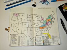 """""""States I've Been"""" bullet journal page"""