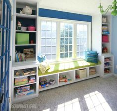 Window Seat and Bookcases