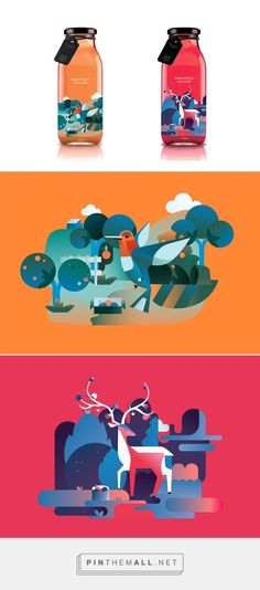 juice packaging & illustration by Qian Xu Branding And Packaging, Juice Packaging, Bottle Packaging, Design Packaging, Coffee Packaging, Web Design, Label Design, Package Design, Identity Design