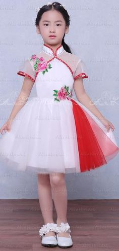 52a7cfe0d11 Unique Cheongsam Style High Neck Short Sleeve Floral Applique Flower G –  AlineBridal