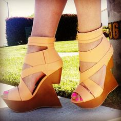 strappy cut-out wedges