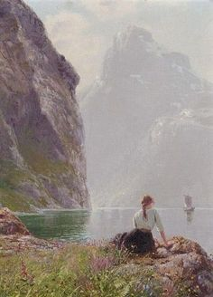 Landscape Paintings by Hans Dahl Norwegian Artist. The Geiranger Fjord, Norway. Reminds me of Anna! Illustration Manga, Illustrations, Classical Art, Fine Art, Renaissance Art, Beautiful Paintings, Romantic Paintings, Pretty Art, Aesthetic Art