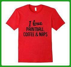Mens I love Paintball, Coffee & Naps Tee, Bold Paintball TShirt Medium Red - Food and drink shirts (*Amazon Partner-Link)