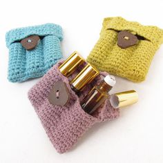 Crocheted Carry Pouch for essential oils with 3 amber roll-on 5ml bottles included. Essential oil essentials from Rivertree Life.