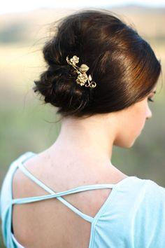 Spring Hair Pin Golden Morning Glory Hair Pin Floral Brass Bobby Pin Woodland Wedding Flower