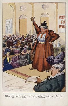 An anti-suffrage postcard, portraying all suffragettes as unattractive elderly matrons who are clueless about men.