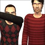 Mod The Sims - Cozy Argyle & Stripey Sweaters with Black & Blue Jeans (+ Bonus Solids!)