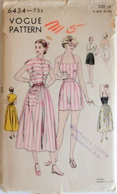 Vogue 6434 Vintage 1940s Halter Top, Skirt and Shorts Sewing Pattern Sz 18 by DRCRosePatterns on Etsy