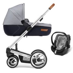 Mutsy Igo Set Urban Nomad Leather Handle + Carrycot + Cybex Aton 5 silver lite white and blue - Collection 2016