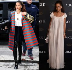 Rihanna In Christian Dior - Christian Dior Spring 2016 Front Row, Out In Paris & Vogue 95th Anniversary Party - Red Carpet Fashion Awards