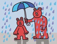 Under my umbrella - Teddies in the rain