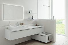 280 cm width) and design come together in the Original. Bath Shelf, Bathroom Shelves, Modern Bathroom Lighting, White Vanity, Room Tour, White Bathroom, Bathroom Furniture, Double Vanity, Storage Spaces