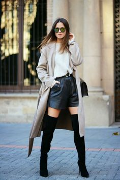 I love the camel coat and leather shorts!