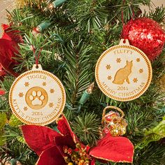 Cat silhouette or paw print custom engraved personalized wooden Christmas ornament. Our cats are members of our family too, so include them on your