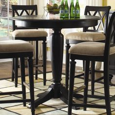 American Drew Camden - Dark Bar Height Gathering Table with Splat Back Stools - Johnny Janosik - Pub Table and Stool Set Delaware, Maryland, Virginia, Delmarva Round Counter Height Table, Bar Height Dining Table, Round Bar Table, Dining Room Table, Kitchen Tables, Round Kitchen, Dining Set, Kitchen Dining, Dining Chairs