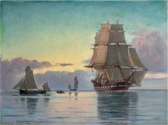 """Artwork by Carl Ludvig Thilson Locher, The frigate """"Jylland"""", Made of Oil on canvas"""