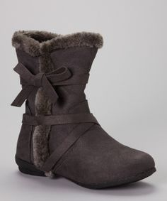 Gray Faux Fur-Lined Boot