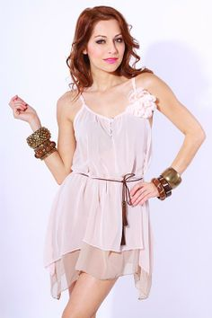 LOOOOOVE!! 1015store.com-Dusty pink/mocha button front chiffon layered belted sundress-$10.00