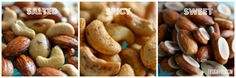 Delicious salty, savory and sweet cruncy nuts. Great for snacking on at work or home. Keeps you from grabbing that bag of chips instead! (from my site www.exsugarholic.com)