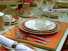 Wedgewood Fine China Dinnerware Palladian Collection in Orange and White