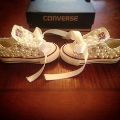 Pearl infant and toddler converse low tops on Etsy, $75.00