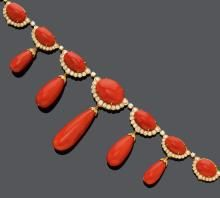CORAL AND DIAMOND NECKLACE.