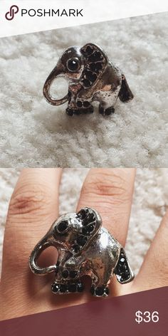 Vintage silver elephant ring ⋈ Vintage silver elephant ring with black rhinestones ⋈ Unknown metal and stones ⋈ Minor discoloration from age ⋈ Size 6-7, but back is adjustable ⋈ Price is negotiable! Vintage Jewelry Rings