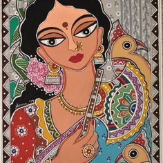 Parrot Painting, Cow Painting, Fabric Painting, Dress Painting, Madhubani Art, Madhubani Painting, Modern Art Prints, Artwork Prints, Wall Prints