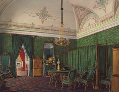 Drawings by Edward Petrovich Hau - Interiors of the Winter Palace. The Third Reserved Apartment. A Bedroom