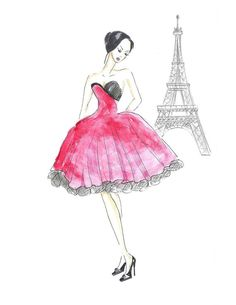 Girl in Red Paris Watercolor Fashion Illustration Print by Zoia