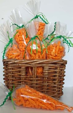 Cheetos in frosting bags tied up to look like carrots...so ADORBS! I'm sure goldfish crackers could be used too...especially for the lil ones.
