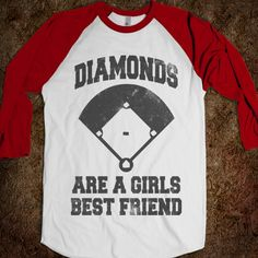 Diamonds Are A Girls Best Friend (Vintage Baseball) - Sports Fun - Skreened T-shirts, Organic Shirts, Hoodies, Kids Tees, Baby One-Pieces and Tote Bags Custom T-Shirts, Organic Shirts, Hoodies, Novelty Gifts, Kids Apparel, Baby One-Pieces | Skreened - Ethical Custom Apparel