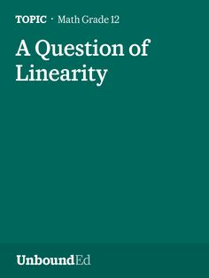 (M1 Topic A) Students begin the study of linearity.