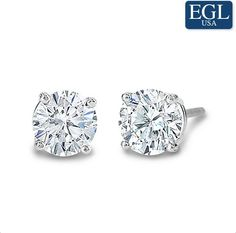 1.20 carat total weight studs feature full cut round brilliant (SI3-I, EGL US certified) diamonds set in your choice of 14k yellow or white gold friction back settings.