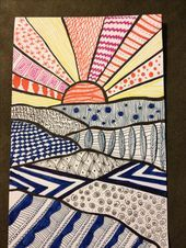 I like this one because of the colors and the various patterns that come together to make a nice sunset doodle Zentangle doodle Op Art, Art Painting, Art Drawings, Drawings, Doodle Art, Elementary Art Projects, Zentangle Art, Art Journal, Art Inspiration