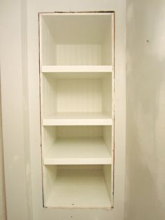 Built-In Storage Between the Studs – Home Staging In Bloomington Illinois Small Bathroom Storage, Extra Storage Space, Bathroom Shelves, Bathroom Styling, Storage Spaces, Built In Bathroom Storage, Bath Storage, Built In Wall Shelves, Built In Storage
