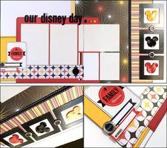 Our Disney Day - Family Memories    This 2 page 12x12 layout is perfect for photos of your magical Disney vacation: rides, characters, parades, etc. From DaringDezinz Etsy shop by Tamara Jensen
